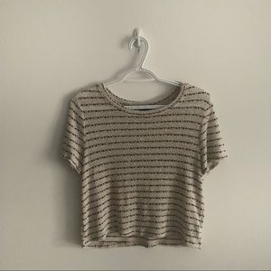 Forever 21 Cream Black Striped Knit Top